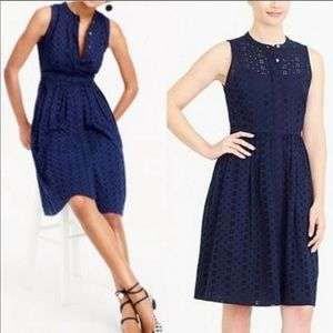 J Crew Navy blue Eyelet shirt dress | S